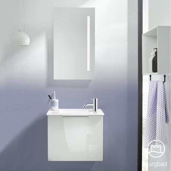 Burgbad Eqio Handwaschbecken mit Waschtischunterschrank mit 1 Klappe Front weiß hochglanz / Korpus weiß glanz, Griff chrom