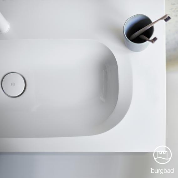 Burgbad Fiumo Badmöbel-Set Doppelwaschtisch mit Waschtischunterschrank und Spiegelschrank Front tectona zimt dekor / Korpus tectona zimt dekor, Griffleiste weiß matt