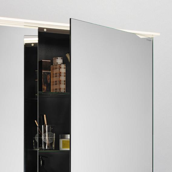 Burgbad Fiumo Badmöbel-Set Doppelwaschtisch mit Waschtischunterschrank und Spiegelschrank Front graphit softmatt/tectona zimt dekor / Korpus graphit softmatt, Griffleiste chrom
