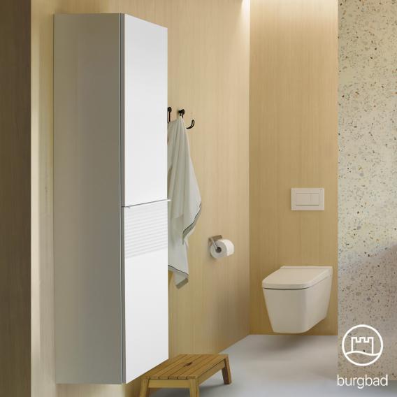 Burgbad Fiumo Hochschrank mit 2 Türen Front weiß matt / Korpus weiß matt, Griffleiste weiß matt