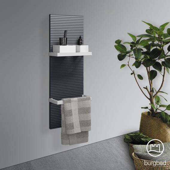 Burgbad Fiumo Wandpaneel mit zwei Handtuchhaltern graphit softmatt