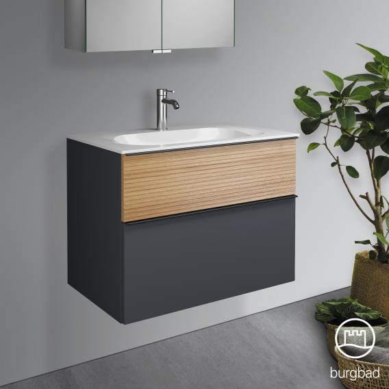 Burgbad Fiumo Waschtisch mit Waschtischunterschrank mit 2 Auszügen Front graphit softmatt/tectona zimt dekor / Korpus graphit softmatt, Griffleiste schwarz matt