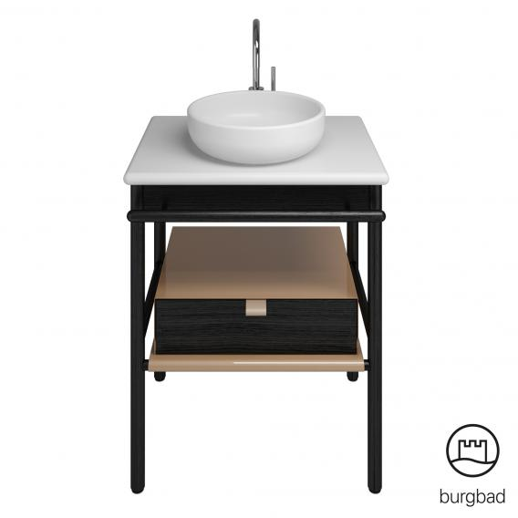 Burgbad Mya Keramik-Waschtisch mit Waschtischunterschrank B: 65 cm, 1 Schublade Front eiche schwarz/Korpus eiche schwarz/Waschtisch weiß samt