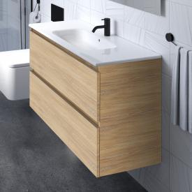 Cosmic b-box Waschtisch eckig mit Waschtischunterschrank mit 2 Auszügen Front eiche natur / Korpus eiche natur
