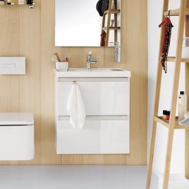 Cosmic b-box Waschtisch eckig mit Waschtischunterschrank mit 2 Auszügen Front weiß matt / Korpus weiß matt