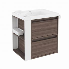 Cosmic b-smart Waschtisch mit Waschtischunterschrank mit 2 Auszügen Front esche/weiß / Korpus esche