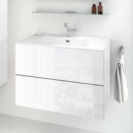 Cosmic block evo Waschtisch mit Waschtischunterschrank mit 2 Auszügen weiß glänzend, weiß glänzend