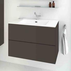 Cosmic block evo Waschtisch mit Waschtischunterschrank mit 2 Auszügen weiß matt, amethystgrau matt