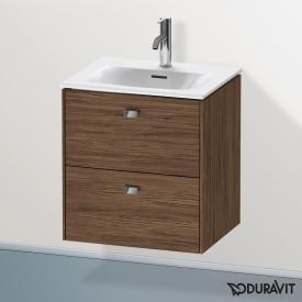 Duravit Brioso Handwaschbeckenunterschrank mit 2 Auszügen Front nussbaum dunkel/Korpus nussbaum dunkel, Griff chrom