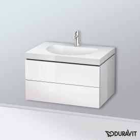 Duravit Darling New Waschtisch mit L-Cube Waschtischunterschrank mit 2 Auszügen Front weiß hochglanz / Korpus weiß hochglanz, mit Einrichtungssystem Ahorn, mit 1 Hahnloch