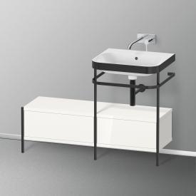 Duravit Happy D.2 Plus Waschtisch mit Metallkonsole und Unterschrank mit 2 Auszügen ohne Hahnloch, Front weiß hochglanz/schwarz matt/Korpus weiß hochglanz/schwarz matt, ohne Einrichtungssystem