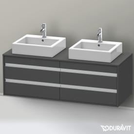 Duravit Ketho Waschtischunterschrank mit 4 Auszügen für 2 Aufsatzwaschtische Front graphit matt / Korpus graphit matt