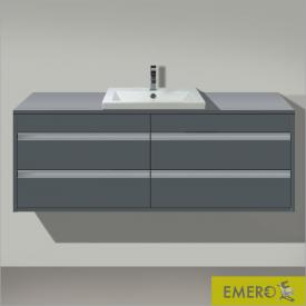Duravit Ketho Waschtischunterschrank mit 4 Auszügen für 2 Einbauwaschtische Front graphit matt / Korpus graphit matt