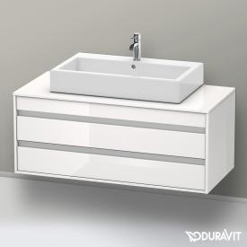 Duravit Ketho Waschtischunterschrank für Aufsatzwaschtisch mit 2 Auszügen Front weiß hochglanz / Korpus weiß hochglanz