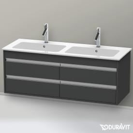 Duravit Ketho Waschtischunterschrank für Doppelwaschtisch mit 4 Auszügen Front graphit matt / Korpus graphit matt