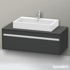 Duravit Ketho Waschtischunterschrank ohne Ausschnitt für Aufsatzwaschtisch Front graphit matt / Korpus graphit matt