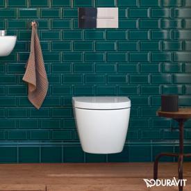 Duravit ME by Starck Wand-Tiefspül-WC Compact Set, rimless, mit WC-Sitz weiß, mit HygieneGlaze