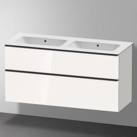 Duravit Me by Starck Doppelwaschtisch mit D-Neo Waschtischunterschrank mit 2 Auszügen Front weiß hochglanz / Korpus weiß hochglanz, WT weiß, mit WonderGliss, ohne Hahnloch