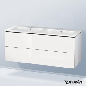 Duravit ME by Starck Doppelwaschtisch mit L-Cube Waschtischunterschrank mit 2 Auszügen Front weiß hochglanz / Korpus weiß hochglanz, ohne Einrichtungssystem, WT weiß, mit WonderGliss, ohne Hahnloch