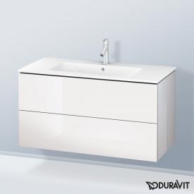Duravit ME by Starck Waschtisch mit L-Cube Waschtischunterschrank mit 2 Auszügen Front weiß hochglanz / Korpus weiß hochglanz, weiß, mit WonderGliss, mit 1 Hahnloch