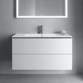 Duravit ME by Starck Waschtisch mit L-Cube Waschtischunterschrank mit 2 Auszügen Front weiß matt / Korpus weiß matt, ohne Einrichtungssystem, WT weiß, mit WonderGliss, mit 1 Hahnloch