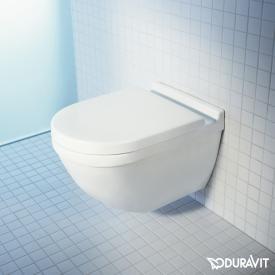 Duravit Starck 3 Wand-Tiefspül-WC Set, mit WC-Sitz ohne Spülrand, weiß, mit WonderGliss