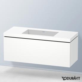 Duravit Vero Air Waschtisch mit L-Cube Waschtischunterschrank mit 1 Auszug Front weiß matt / Korpus weiß matt, mit Einrichtungssystem Nussbaum, ohne Hahnloch