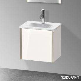 Duravit XViu Handwaschbeckenunterschrank mit 1 Tür weiß hochglanz, Kante champagner matt, ohne Einrichtungssystem