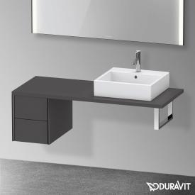 Duravit XViu Unterschrank für Konsole mit 2 Auszüge graphit matt, Kante schwarz matt, ohne Einrichtungssystem