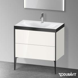 Duravit XViu Waschtisch mit Waschtischunterschrank mit 2 Auszügen weiß hochglanz/schwarz matt, Kante schwarz matt, ohne Einrichtungssystem
