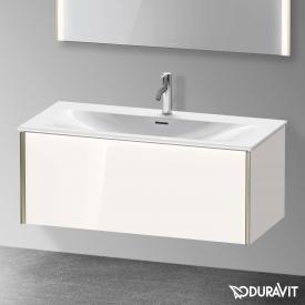 Duravit XViu Waschtischunterschrank mit 1 Auszug weiß hochglanz, Kante champagner matt, ohne Einrichtungssystem