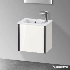 Duravit XViu Waschtischunterschrank mit 1 Tür weiß hochglanz, Kante schwarz matt, ohne Einrichtungssystem