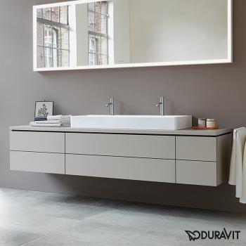 Duravit DuraSquare Möbel-Doppelwaschtisch weiß, mit WonderGliss, mit 2 Hahnlöchern, geschliffen