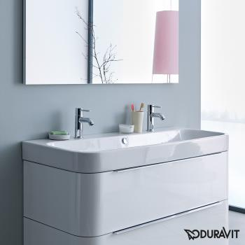 Duravit Happy D.2 Möbel-Doppelwaschtisch weiß, mit WonderGliss, ungeschliffen