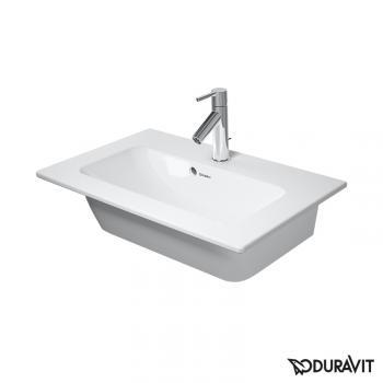 Duravit ME by Starck Möbelwaschtisch Compact weiß, mit WonderGliss, mit 1 Hahnloch