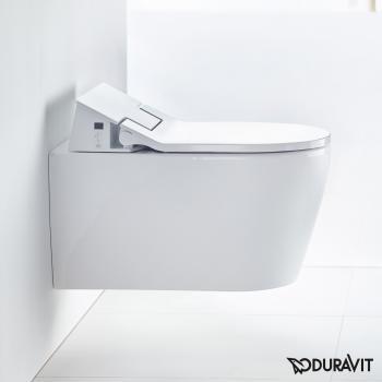 Duravit ME by Starck Wand-Tiefspül-WC Rimless mit NEUEM SensoWash® Slim WC-Sitz, Set weiß mit WonderGliss