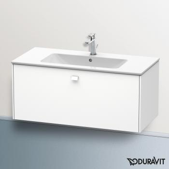 Duravit ME by Starck Waschtisch mit Brioso Waschtischunterschrank mit 1 Auszug weiß, mit WonderGliss, mit 1 Hahnloch
