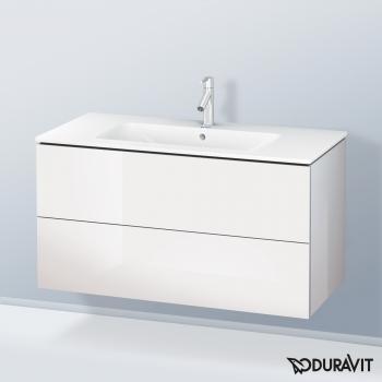 Duravit ME by Starck Waschtisch mit L-Cube Waschtischunterschrank Front weiß hochglanz / Korpus weiß hochglanz, weiß, mit WonderGliss, mit 1 Hahnloch