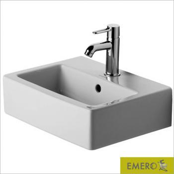 Duravit Vero Handwaschbecken weiß, mit WonderGliss, mit 1 Hahnloch, geschliffen, mit Überlauf