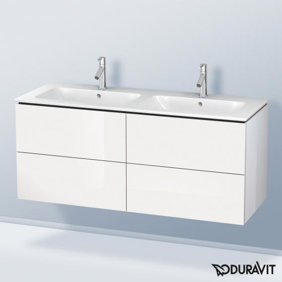 Duravit ME by Starck Doppelwaschtisch mit L-Cube Waschtischunterschrank mit 4 Auszügen Front weiß hochglanz / Korpus weiß hochglanz, ohne Einrichtungssystem, WT weiß, mit WonderGliss, mit 2 Hahnlöchern