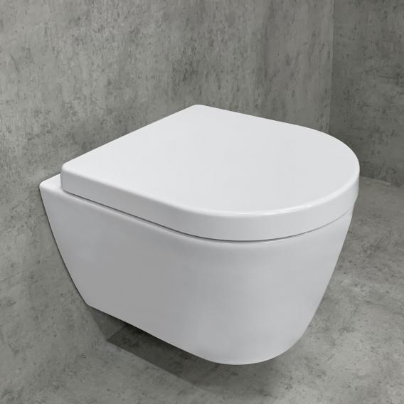 Duravit ME by Starck Wand-WC & Tellkamp Premium 4000 WC-Sitz SET kurz: WC ohne Spülrand weiß, mit WonderGliss