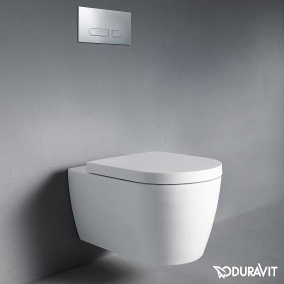 Duravit ME by Starck Wand-Tiefspül-WC Set, rimless, mit WC-Sitz weiß, mit WonderGliss
