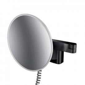 Emco Evo LED Rasier- und Kosmetikspiegel mit Spiralkabel und Stecker schwarz