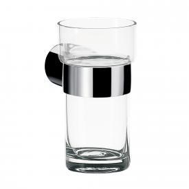 Emco Fino Glashalter mit Kristallglas, Wandmodell chrom, Kristallglas klar