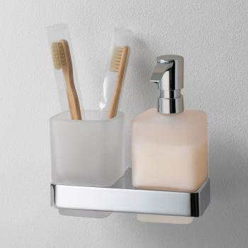 Emco Loft Glashalter mit Seifenspender und Mundglas, Wandmodell chrom