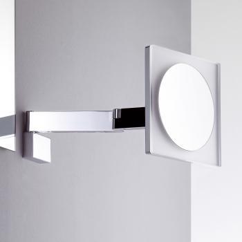 Emco Universal LED Rasier- und Kosmetikspiegel, eckig, Wandmodell, mit 5facher Vergrößerung chrom
