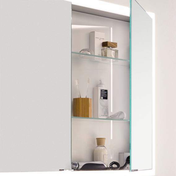 Emco Prime Aufputz LED-Lichtspiegelschrank mit Lichtpaket, 2 Türen aluminium/weiß