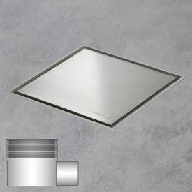 ESS Aqua Jewels Quattro Bodenablauf inklusive Abdeckung, waagerechter Anschluss edelstahl gebürstet, L: 15 B: 15 cm