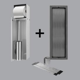 ESS Container T-ROLL Einbau WC - Bürstenhalter und Papierhalter für Nass- und Trokenbau, befliesbar edelstahl poliert