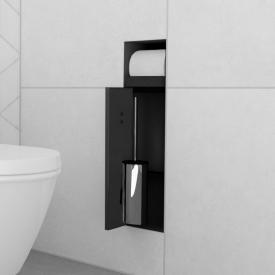 ESS Container T-ROLL Einbau WC - Bürstenhalter und Papierhalter für Nass- und Trockenbau, befliesbar schwarz